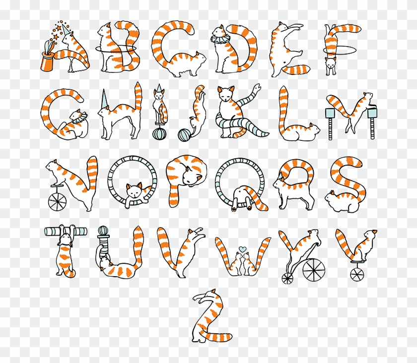 Buy Circus Cats Font And Watch Great Animal Typography - Cat Font Letter Clipart #5180281