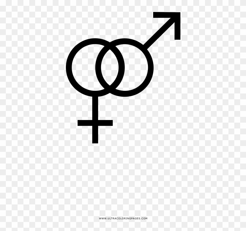 Gender Symbols Coloring Page - Male Female Icon Round Clipart #5180351