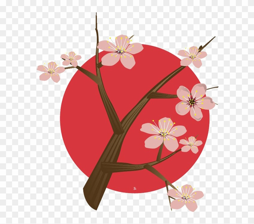 Japanese Flowering Cherry Png Free Download - Japan Cherry Blossom Logo Clipart #5189431