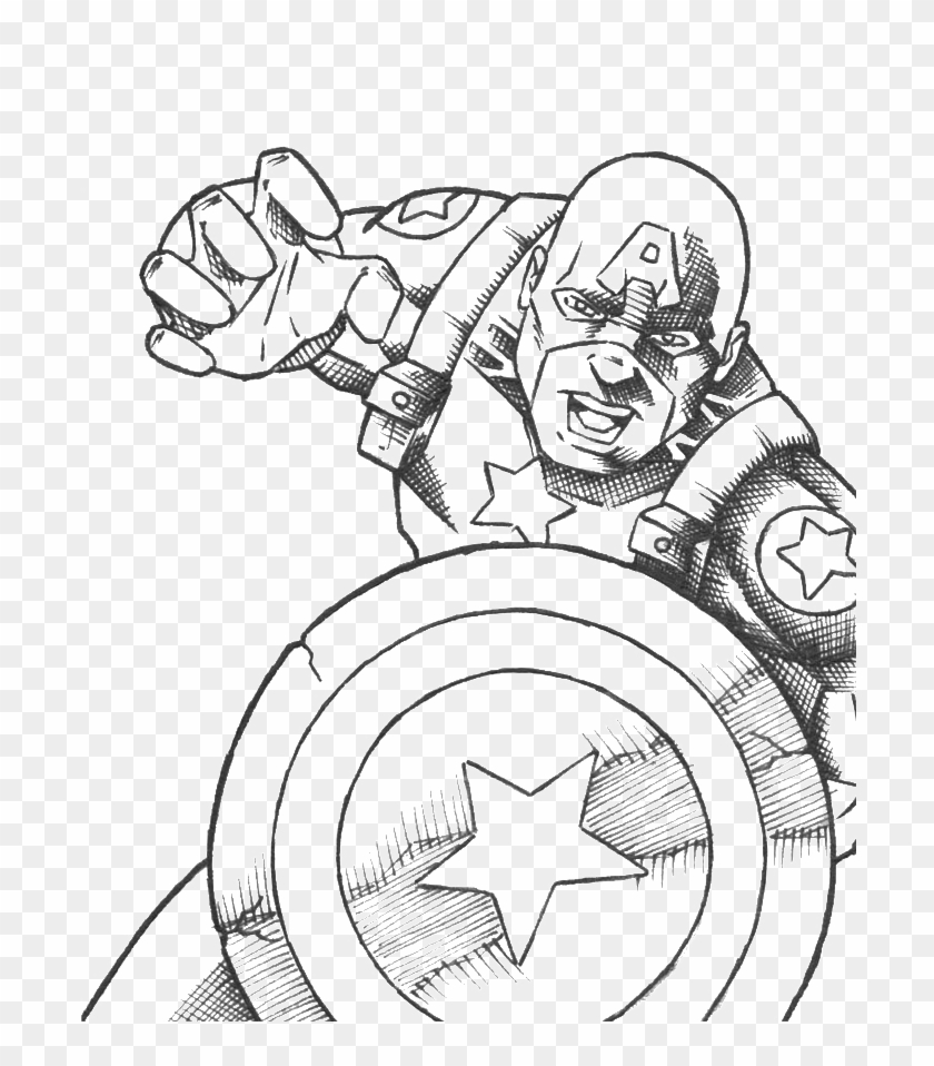 - Vector Transparent Stock America Drawing Coloring - Captain America Black Coloring  Page Clipart (#5193882) - PikPng
