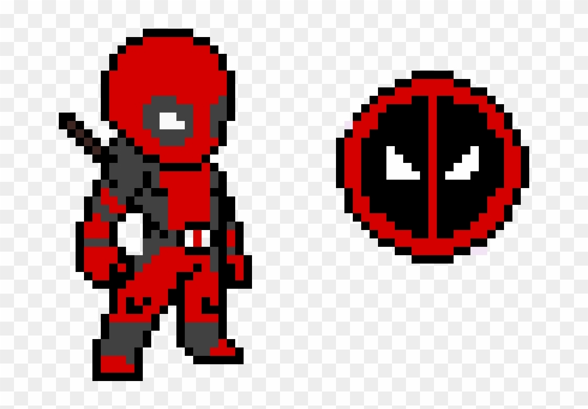 Deadpool Character And Logo Minecraft Pixel Art