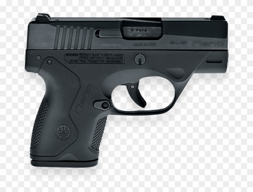 Bu9 Nano Pistol, Mm, Black, Facing Right - Smith And Wesson Bodyguard 38 Pistol Clipart #525738