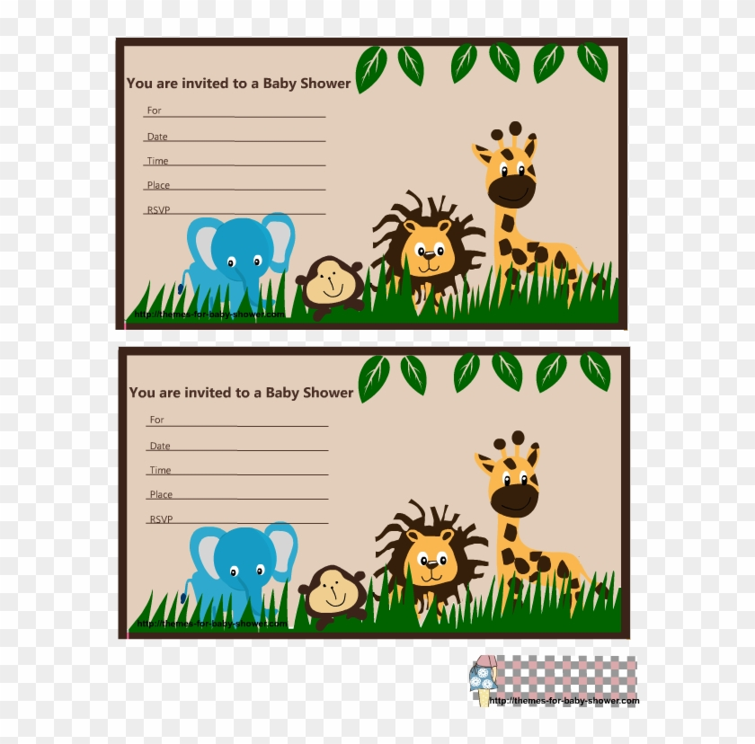 Tarjeta De Baby Shower De Animalitos De La Selva Clipart #529271