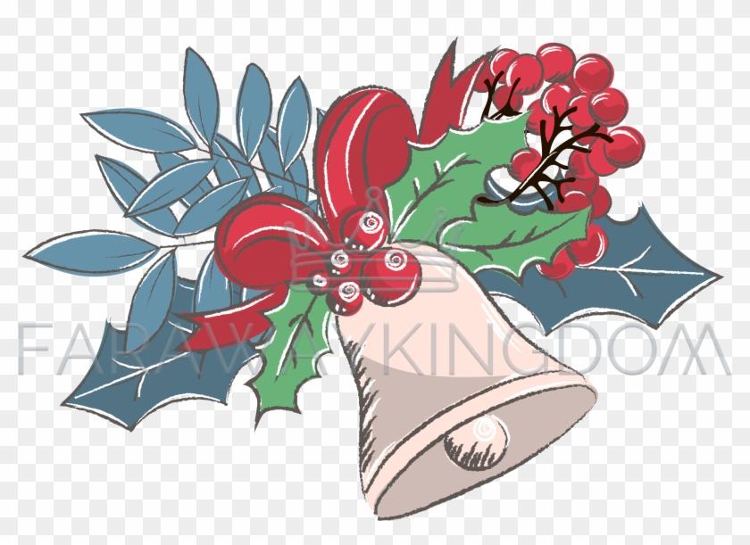 Cheerful Bell Merry Christmas Cartoon Vector Illustration Clipart #5219106