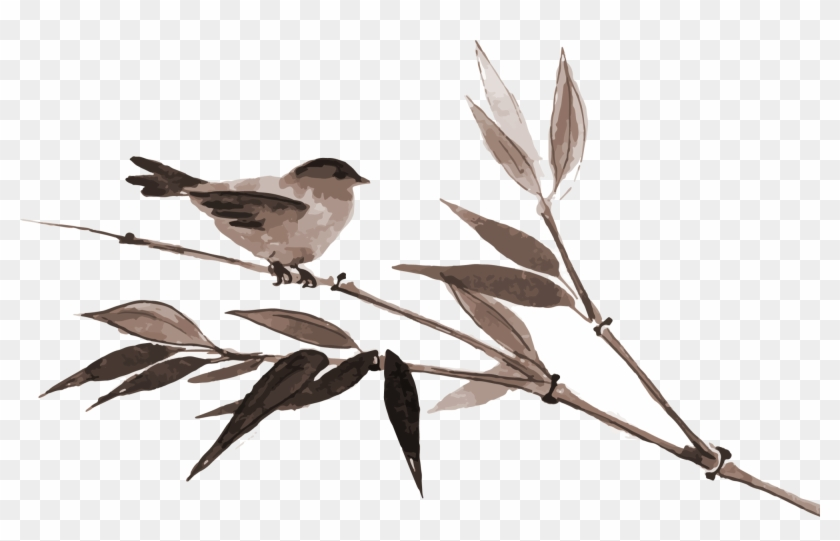 Bamboo Wash Painting Brown Bird Transprent Png - Japanese Cherry Blossom Vector Painting Clipart #5224033