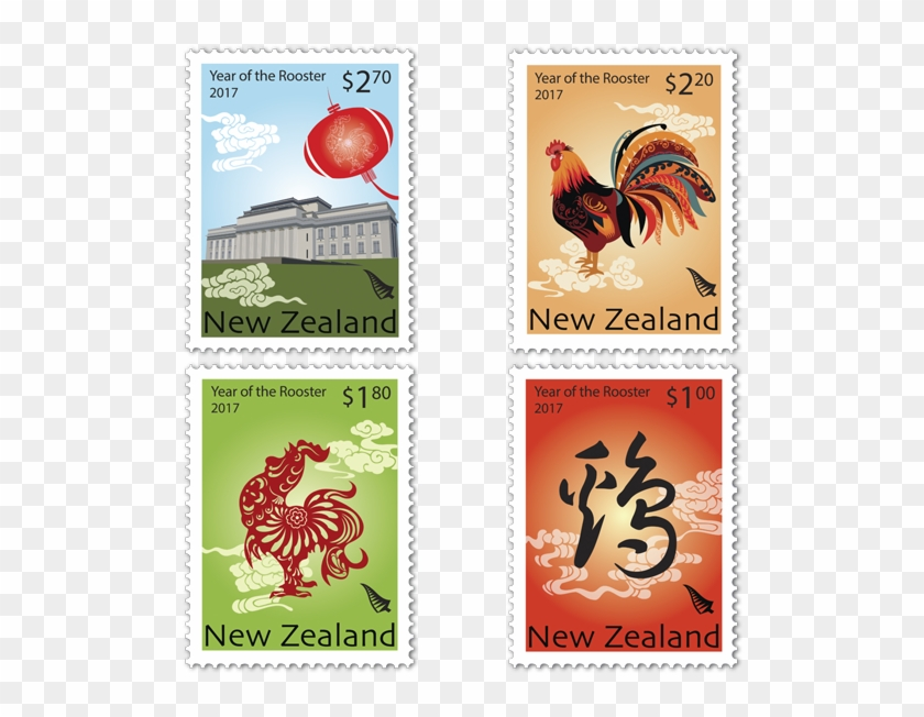 2017 Year Of The Rooster - Chinese New Year 2017 Stamps Clipart #5224634