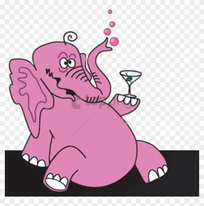 Pink Elephant Png – The image is png format with a clean transparent background.