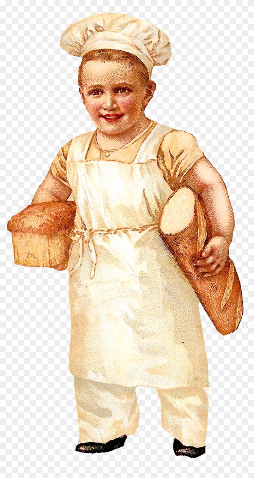 Bread Baker Baking Boy Image Vintage Illustration Clipart - Baking Clipart Boy - Png Download #5259051