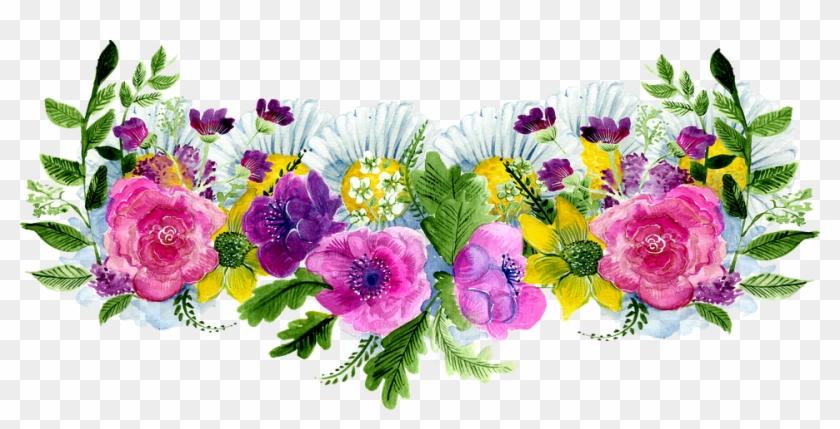 Flower Decoration Watercolor Frame Decorative - Flores Acuarela Png Marco Clipart #5278805