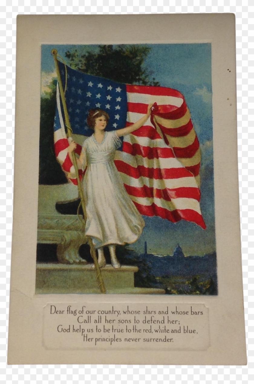 Unused Patriotic Postcard American Flag - High Resolution Vintage Patriotic Clipart #5280805