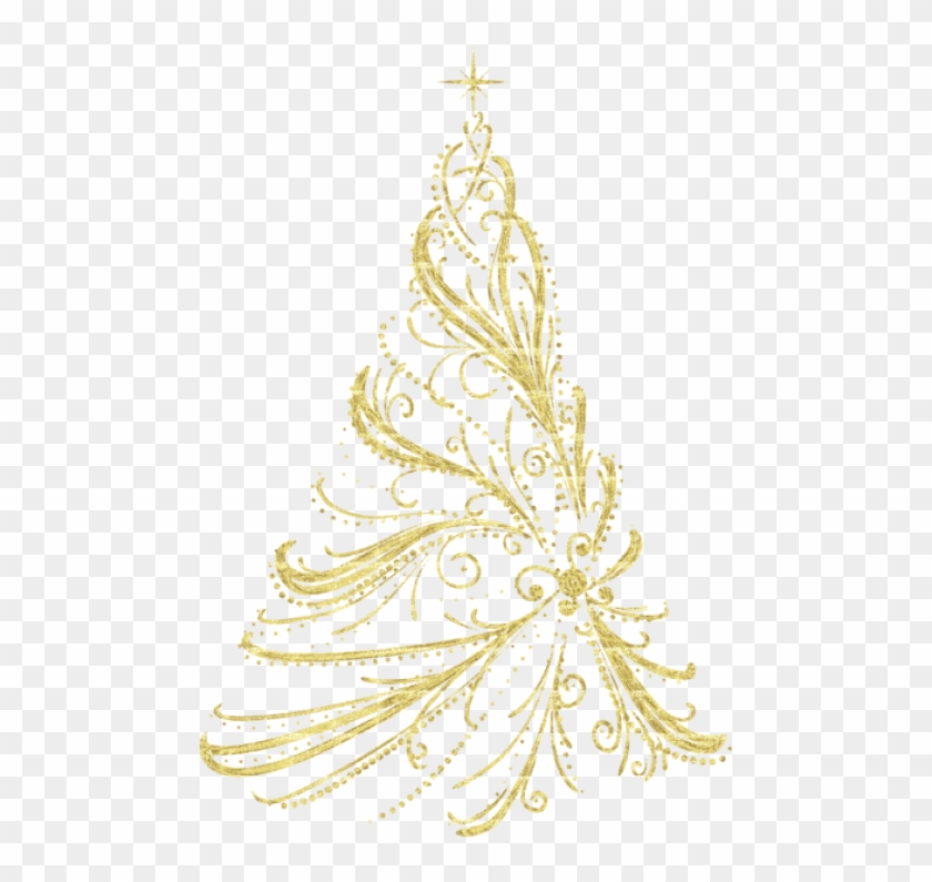 Free Png Transparent Golden Decorative Christmas Tree - Gold Transparent Background Christmas Tree Clipart #530051