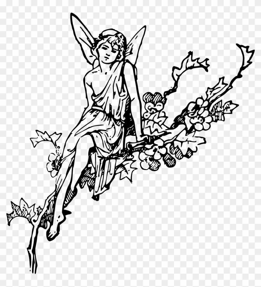 Big Image - Fairy Drawing Black And White Clipart #539143