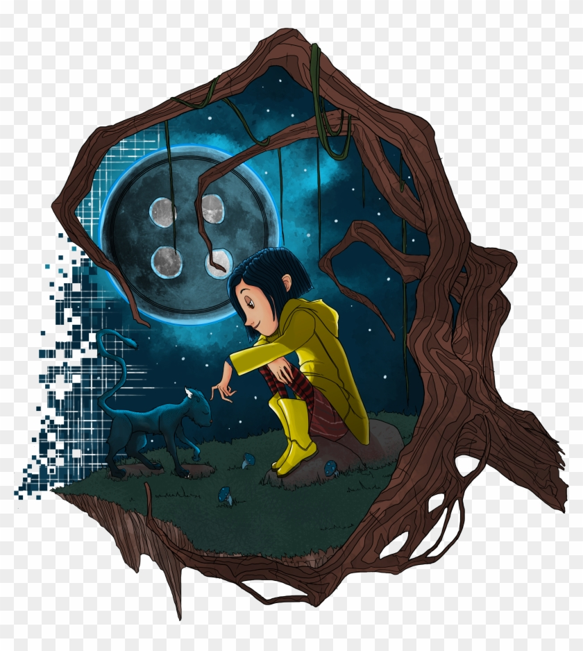 First Post On Steemit A Tribute To Neil Gaiman S Coraline Illustration Clipart 5351158 Pikpng