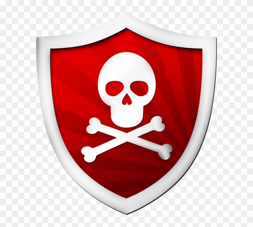 Red Shield With A Skull - Radioactive Biohazard Symbol Clipart #5367544