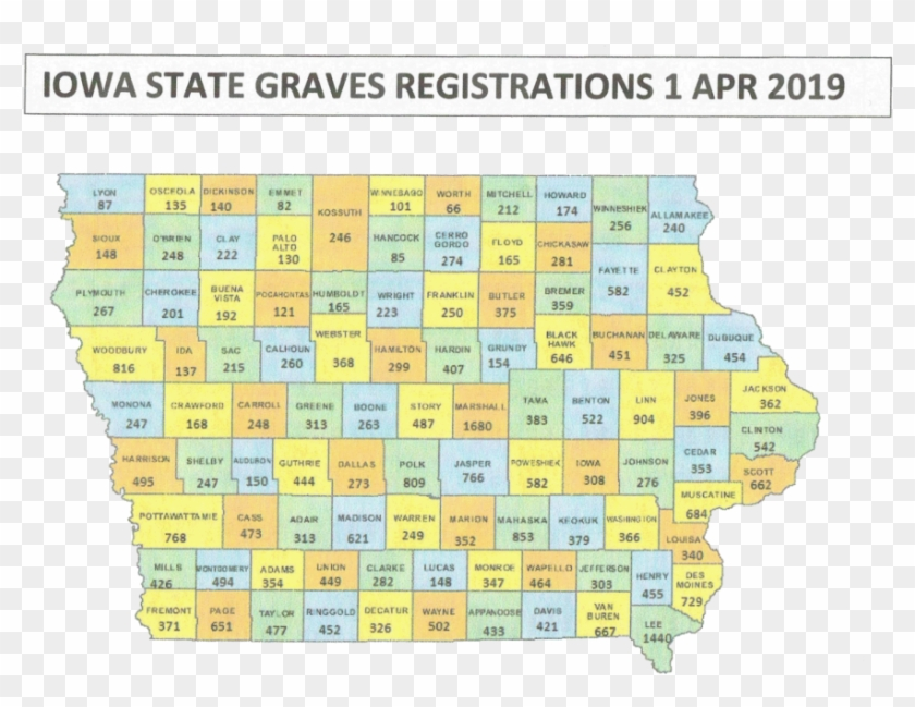 The Numbers On The Map Indicate Each County's Number - Iowa State Hawkeyes Logo Clipart #5388691