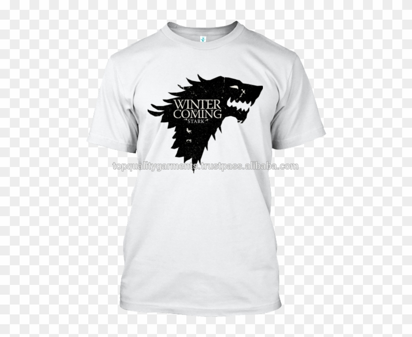 White Winter Is Coming Print T-shirt 100% Cotton Boys - Game Of Thrones Birthday Cake Easy Clipart #5394954
