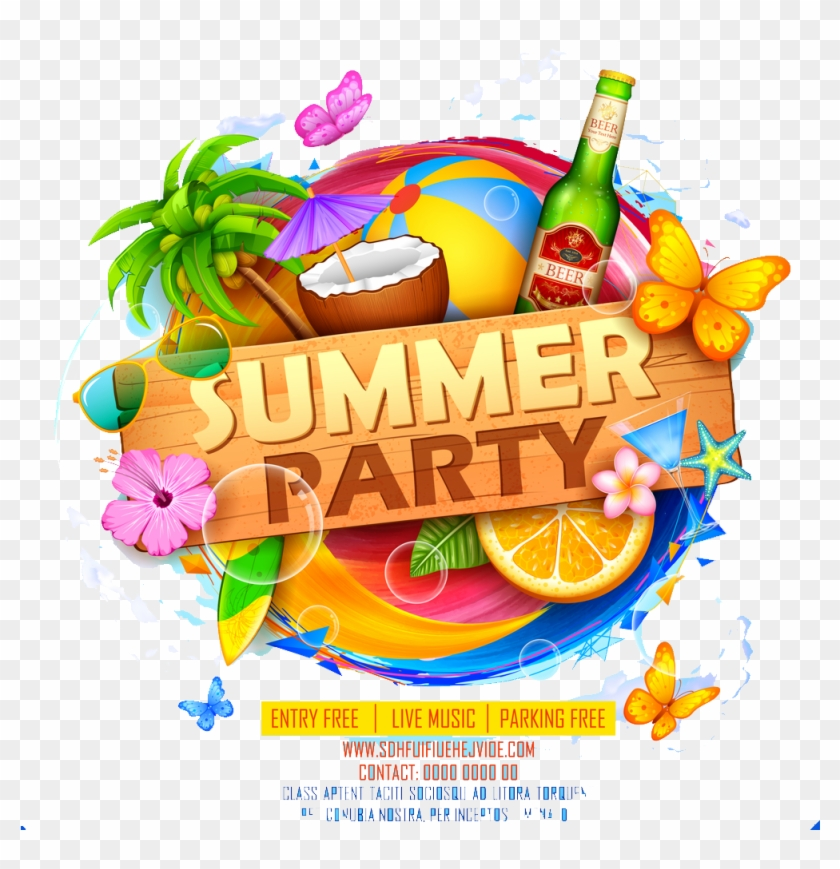 Summer Party Png Image Download - Summer Party Poster Design Clipart #543415