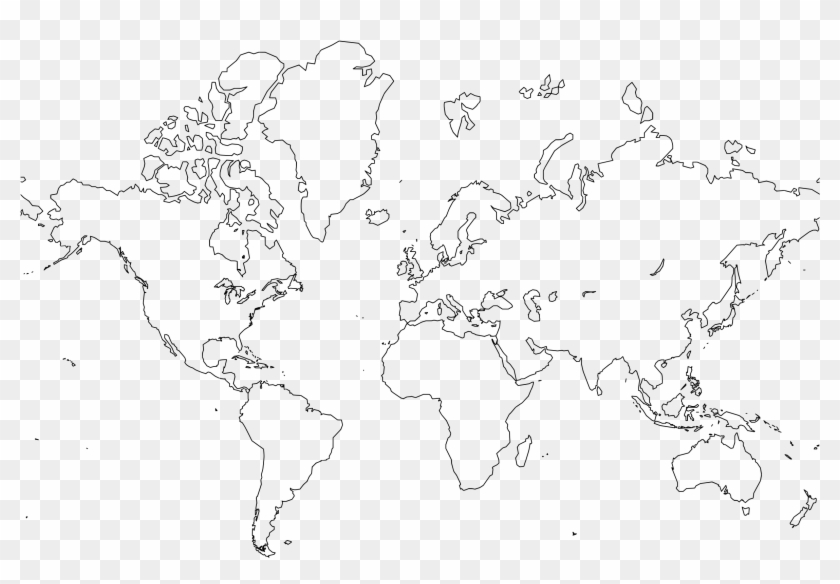 World Map Line Drawing At Getdrawings - Printable Simple World Map Clipart #546335