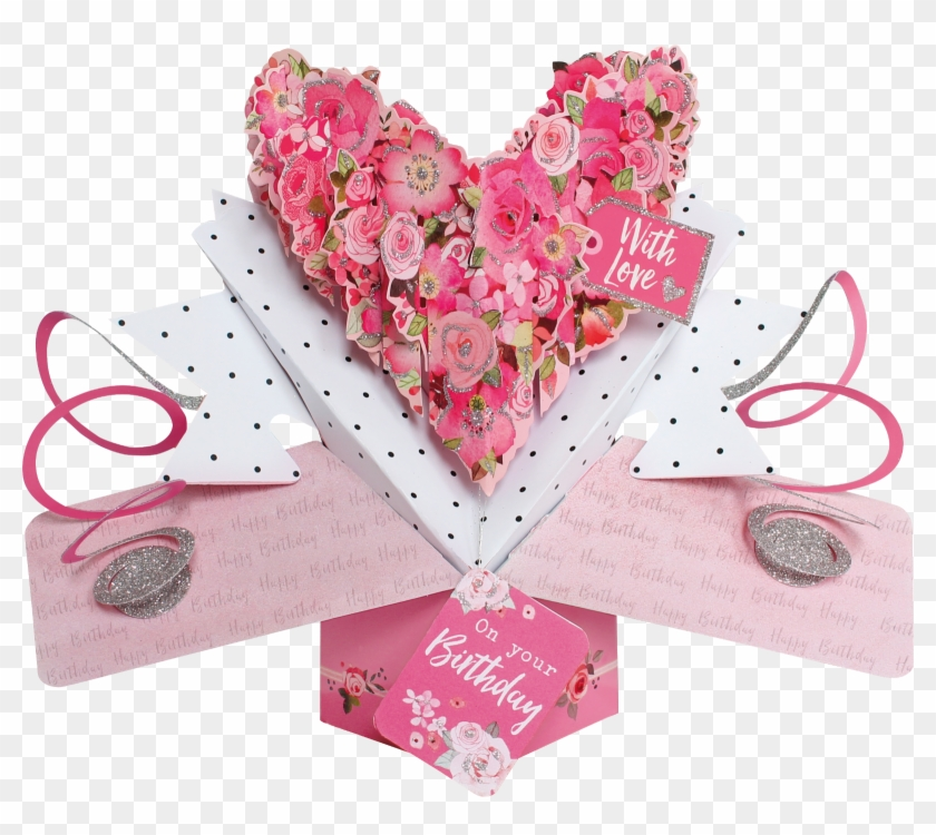 On Your Birthday With Love Heart Pop-up Greeting Card - Second Nature Clipart #5403911