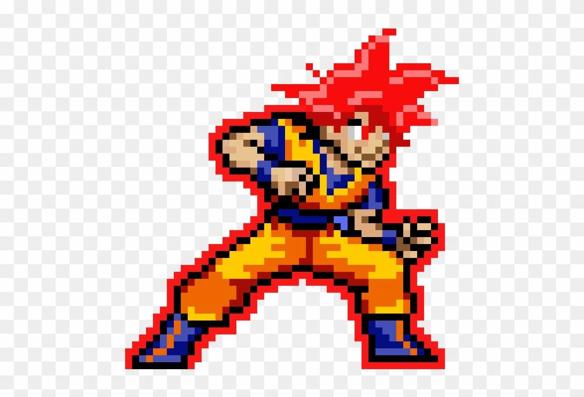 Goku Ssj God - Super Saiyan Goku Pixel Art Clipart #5428412
