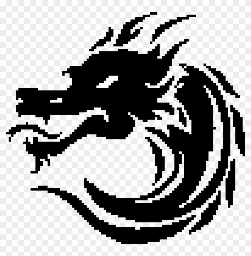 Dragon Pixel Art Black , Png Download - Pixel Art Black And White Clipart@pikpng.com