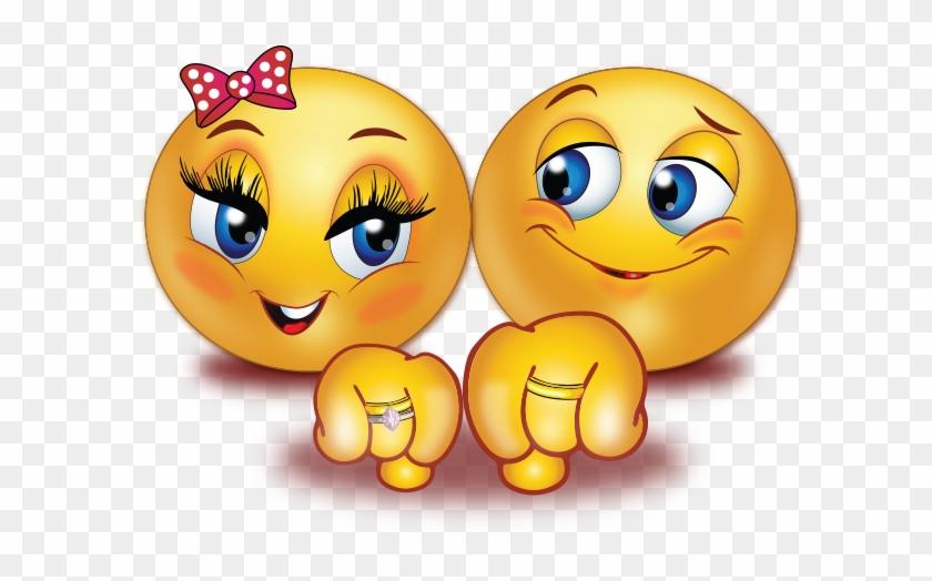 Engaged Couple Smiley Emoji Sticker - Couple Emoji Clipart #5436497