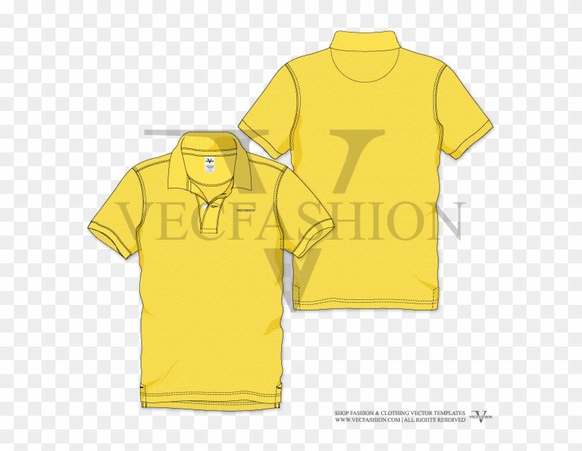 Men Yellow Polo Neck Short Sleeve T-shirt Vector Template - Active Shirt Clipart #5436938
