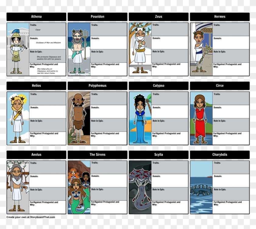 Lesson Plan Greek Mythology Plans High School Gods - Odyssey Character Map Answer Key Clipart #5452605