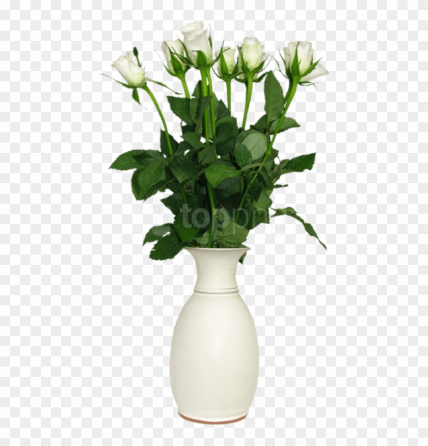 Free Png Download Transparent White Rose In Vase Picture - Flower In Vase Png Clipart #5454955