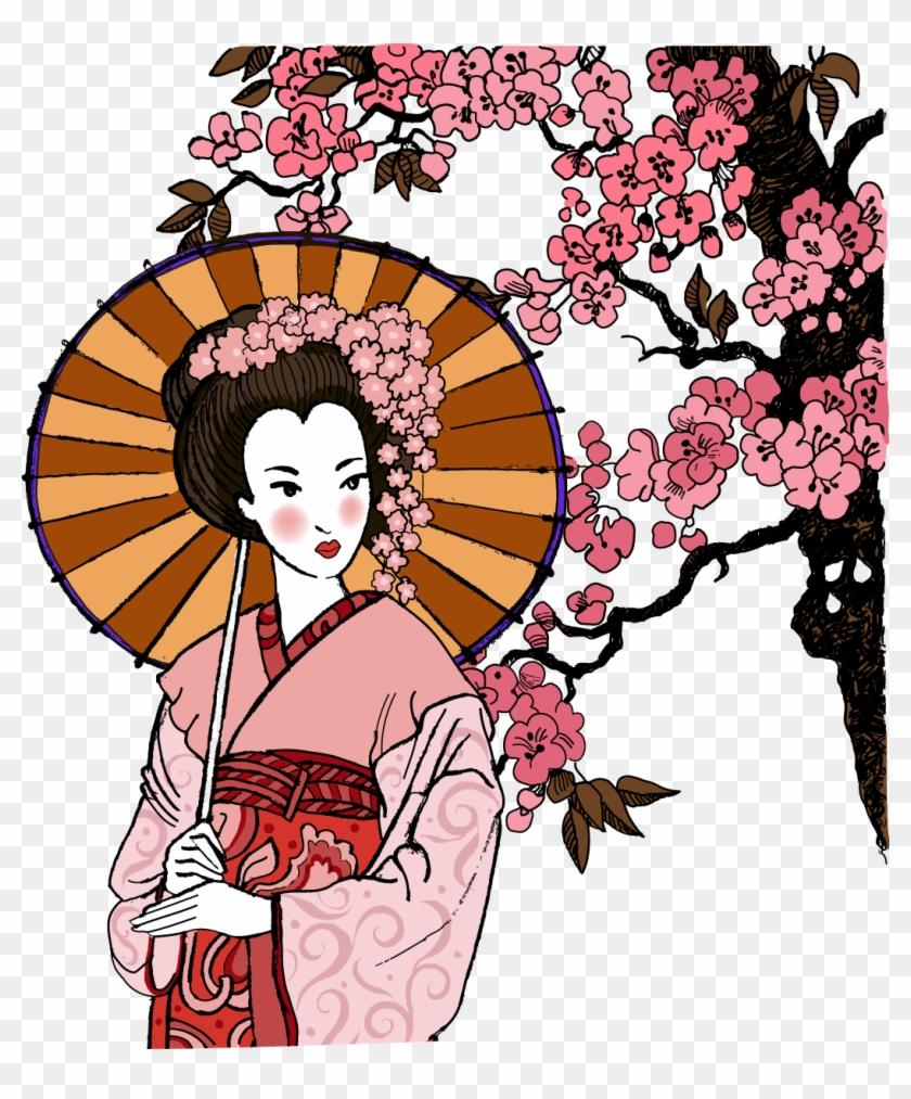 Japanese Clip Woman - Female Japanese Geisha Art - Png Download #5464079