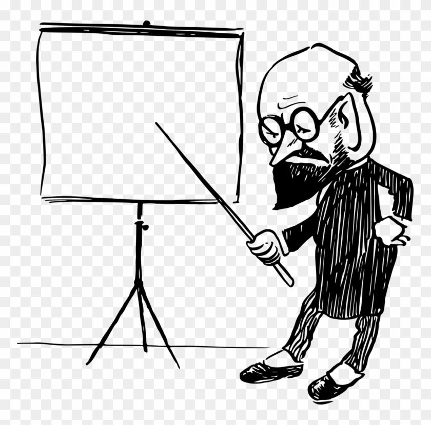 Drawing Line Art Teacher Cartoon School - Teacher At School Drawing Clipart #5469089