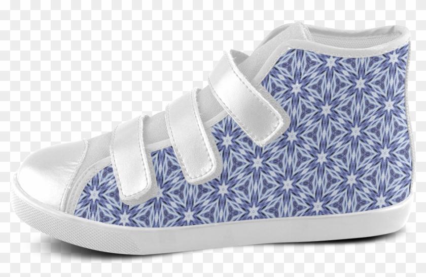Blue Starburst Velcro High Top Canvas Kid's Shoes - Shoe Clipart #5470822