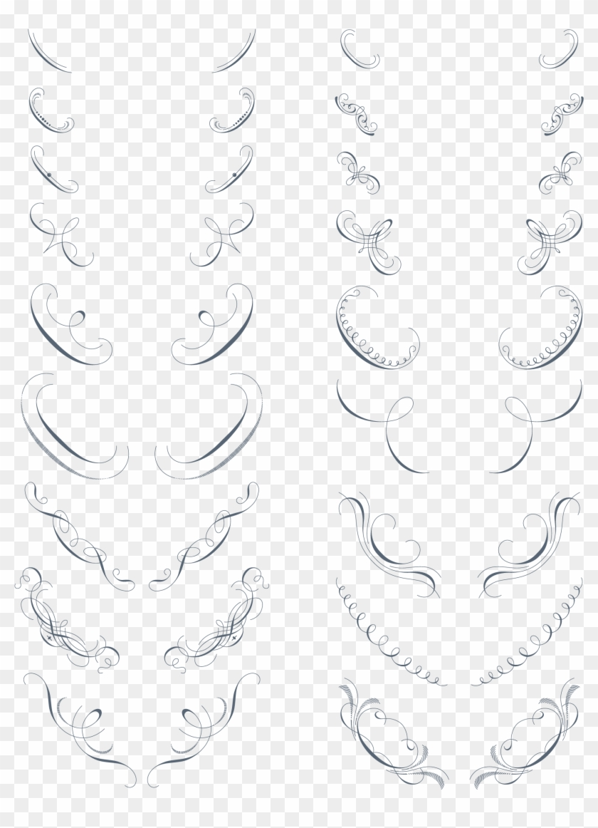 Preview All The Vector Ornaments, Traced By Hand From - Line Art Clipart #5493929
