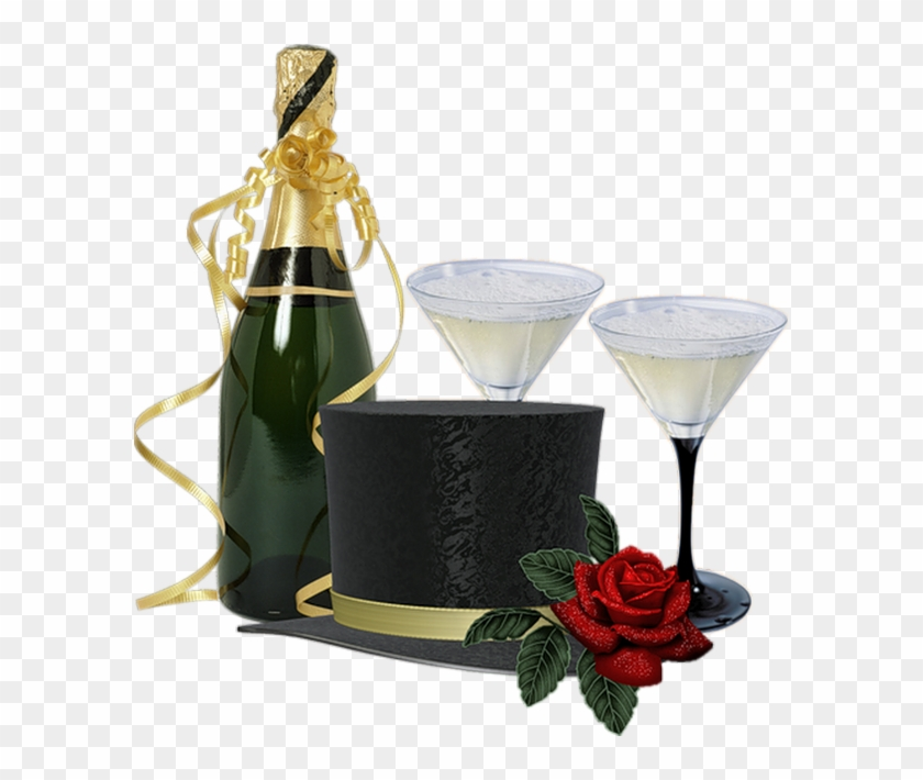 Champagne Bottle And Glasses Clipart #559370