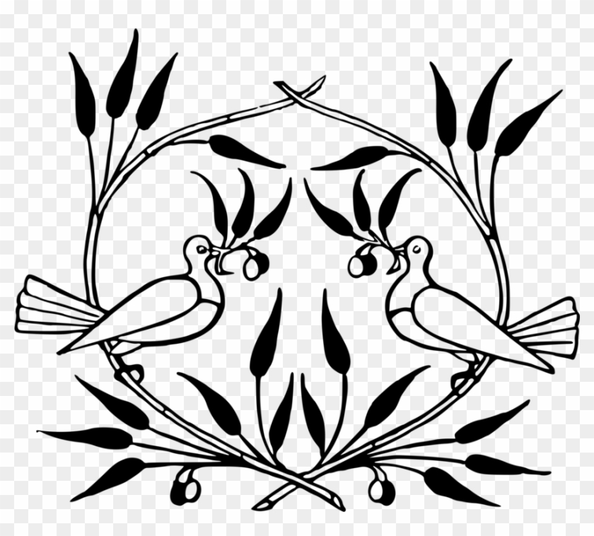 Line And Form - 2 Doves With Olive Branches Png Clipart #5525400
