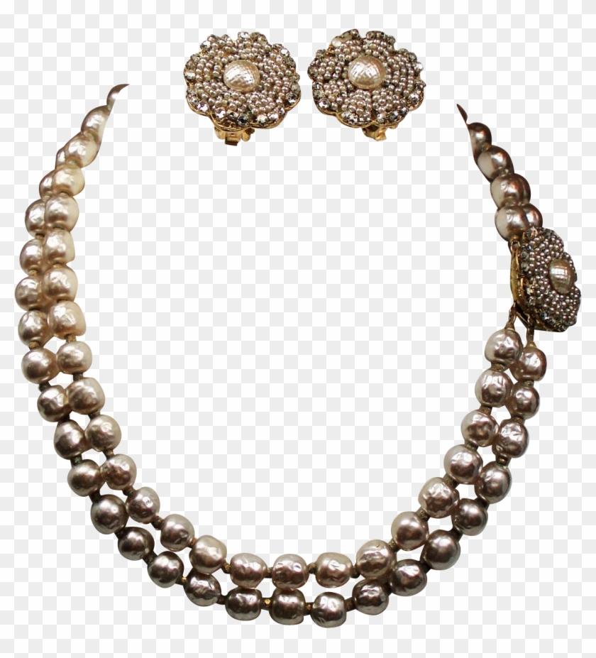 Vintage Miriam Haskell Faux Pearl Chaton Double Strand - Uncut Diamonds Sets Designs Clipart #5542313