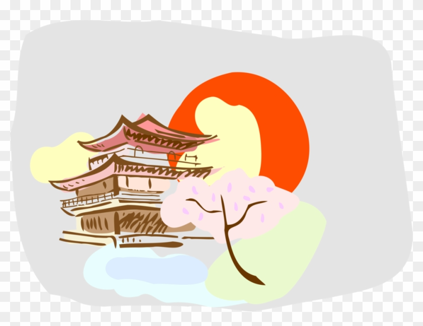 Vector Illustration Of Japanese Pagoda Temple Or Sacred - Illustration Clipart #5553812