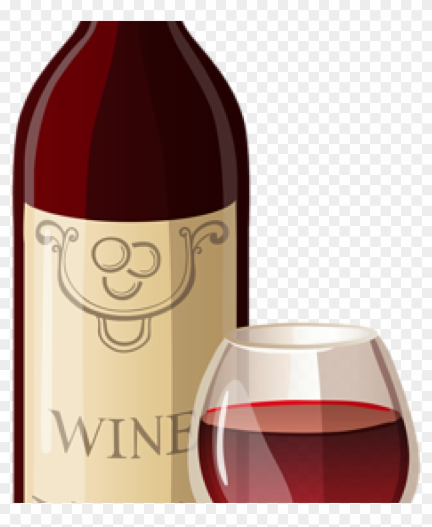 Wine Clip Art Wine Bottle And Glass Png Vector Clipart - Wine And Meal Clipart, Transparent Png #562274