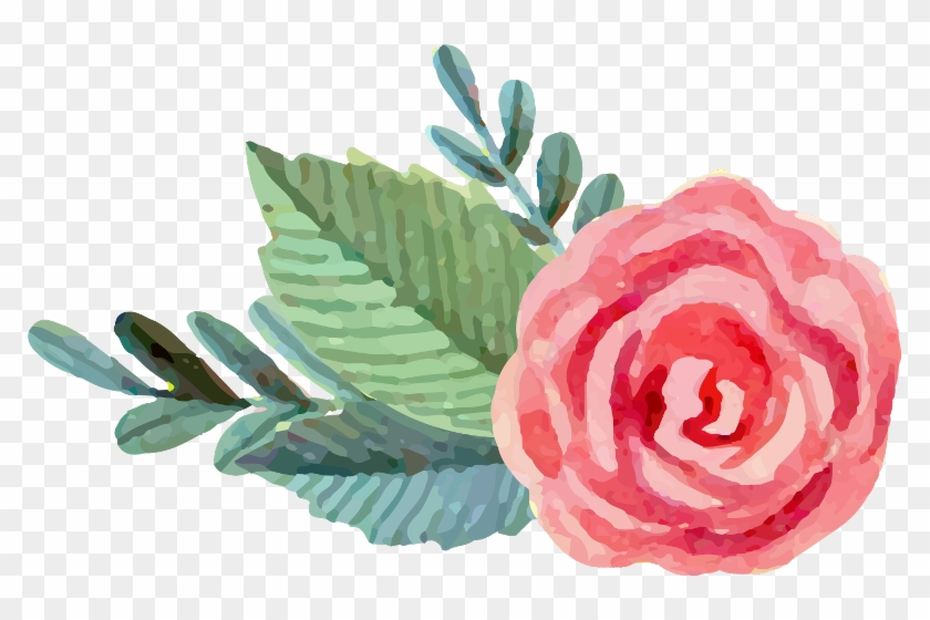 Pink And Green Watercolor Flowers , Png Download - Pink And Green Watercolor Flowers Clipart #5626025
