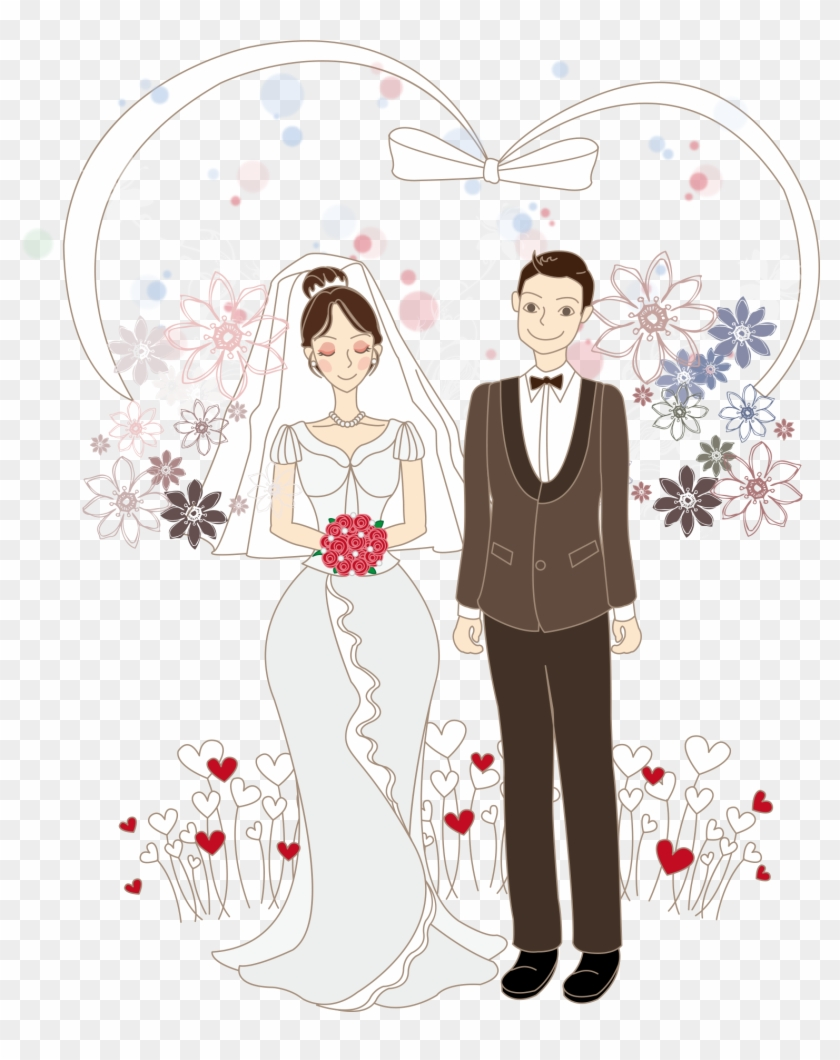Cartoon Bride Illustration - Cartoon Drawing Of Wedding Couple, HD Png Download #5652691