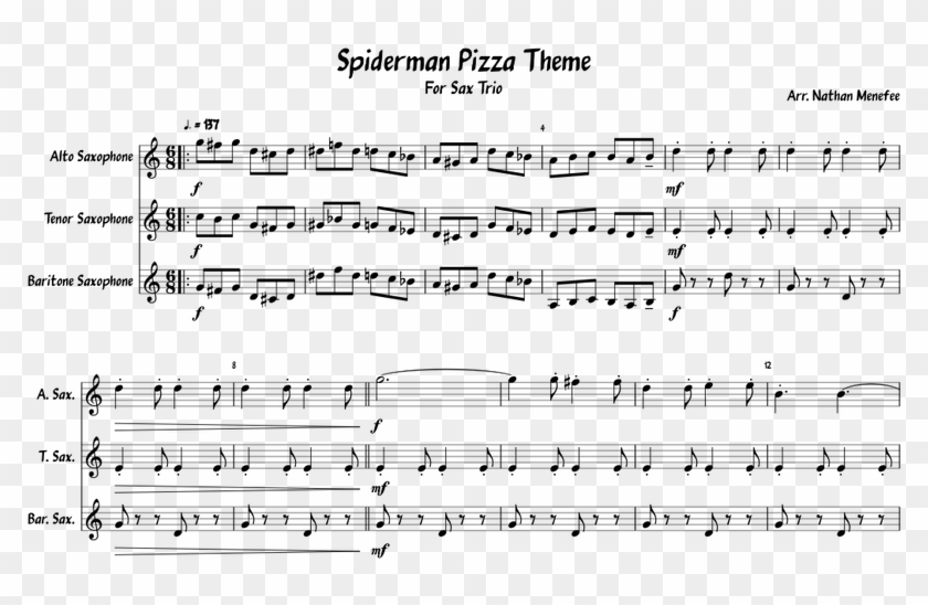 Spiderman Pizza Theme Sheet Music For Alto Saxophone