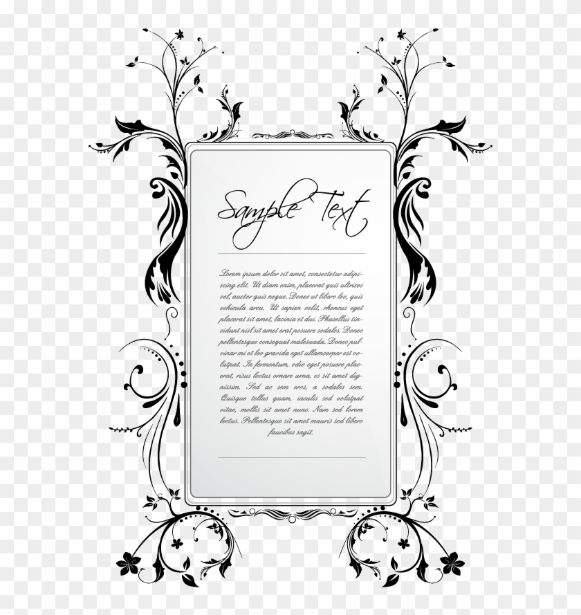 bingkai undangan black white flower patterns frame black and white vector rectangle clipart 5694043 pikpng bingkai undangan black white flower