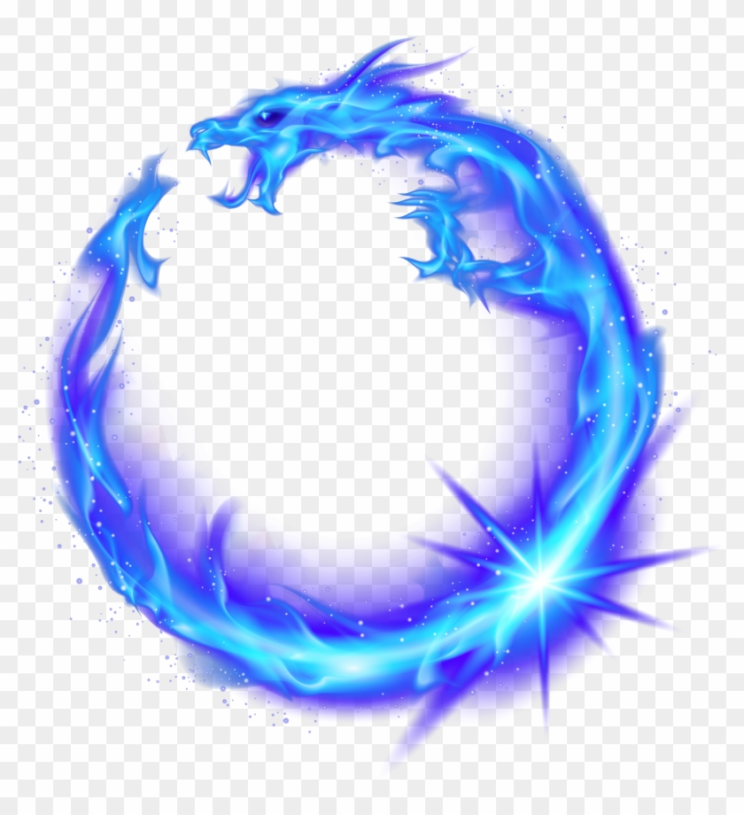 Dragon Circle Flame Fire Combustion Blue Royalty Free - Fire Dragon Circle Transparent Clipart #5697201