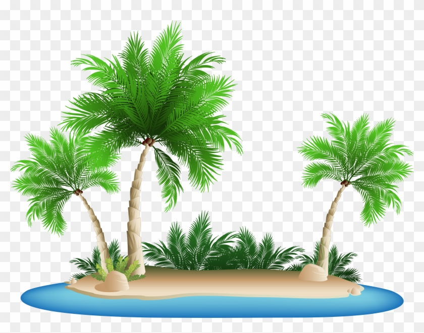 Palm Tree Island Clipart - Beach Palm Tree Png Transparent Png #573328