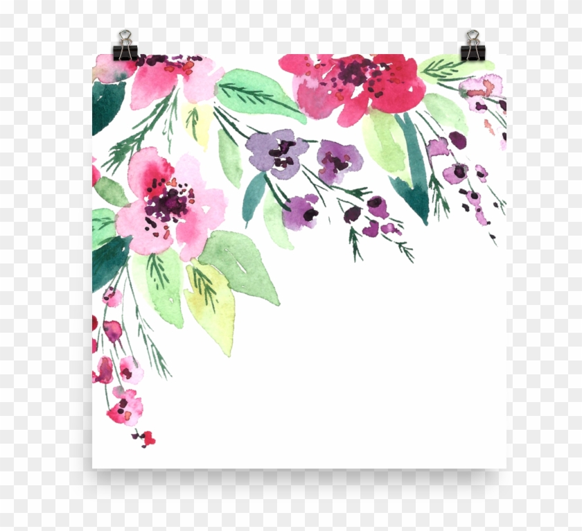 Watercolor Flowers Photo Paper Poster - Watercolor Painting Clipart #577288