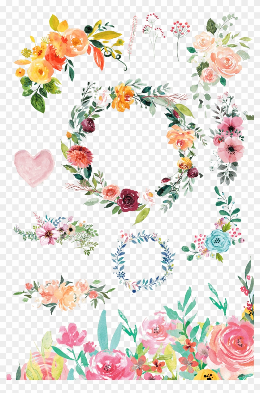 Watercolor Flowers Png Set Download - Watercolor Flowers Png Frame Clipart #577557