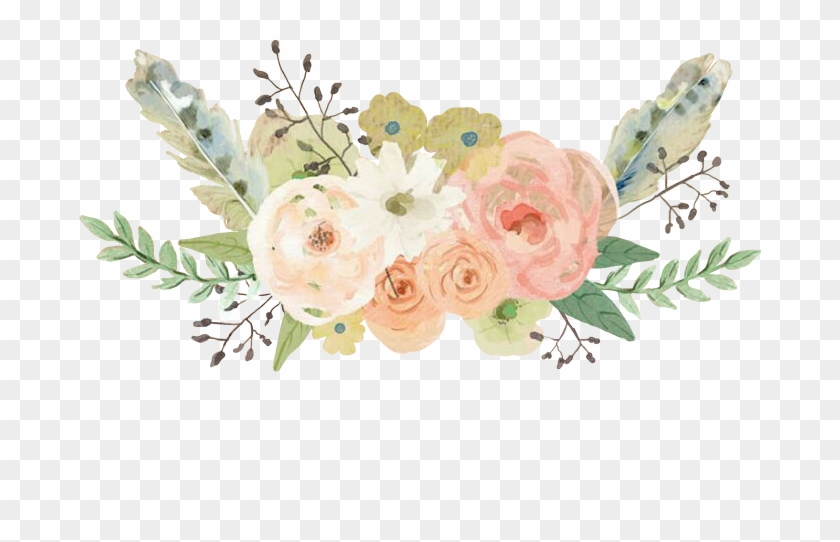 Flowers Flores Feathers Watercolor - Pastel Watercolor Flower Png Clipart #577730