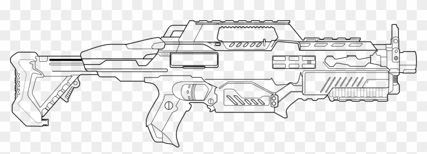 Drawn Sniper Nerf Gun - Nerf Gun Coloring Pages Clipart (#5700054) - PikPng