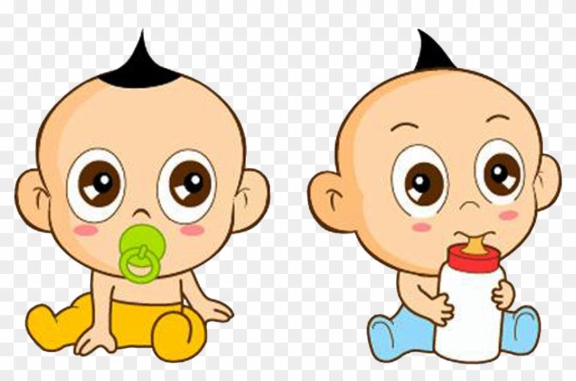 Infant Cartoon Milk Child And Baby Twins - Q 版 小 寶寶 Clipart #5700370