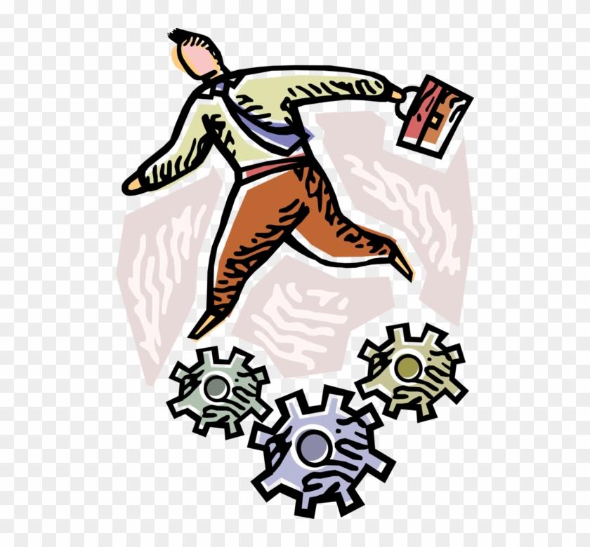 Vector Illustration Of Businessman Turns Industrial Clipart #5713759